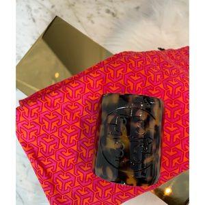 Tory Burch Tortoise Resin Wide Logo Cuff Bracelet